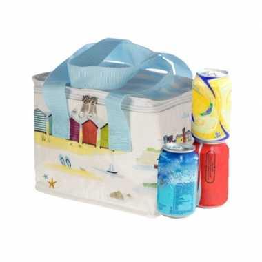 Kleine koeltas voor lunch wit met haven en strand print 16 x 21 x 14 cm 4,7 liter