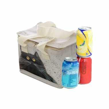 Kleine koeltas voor lunch wit met kim haskins katten print 16 x 21 x 14 cm 4,7 liter