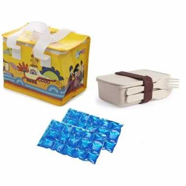 Kleine koeltas voor lunch yellow submarine print met lunchbox met bestek en flexibel koelelement