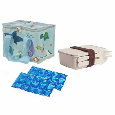 Kleine koeltas voor lunch zeedieren print met lunchbox met bestek en flexibel koelelement