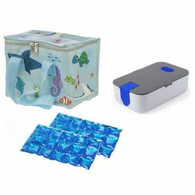 Kleine koeltas voor lunch zeedieren print met lunchtrommel en flexibel koelelement