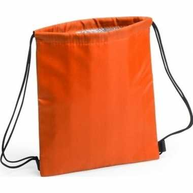 Koeler koeltassen oranje 27 x 33 cm gymtasje/rugzakje