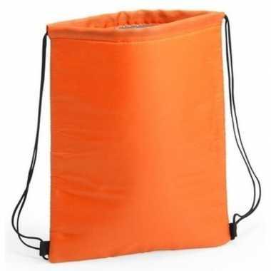Koeler koeltassen oranje 32 x 42 cm gymtasje/rugzakje