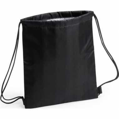 Koeler koeltassen zwart 27 x 33 cm gymtasje/rugzakje
