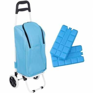 Koeltas trolley blauw 25 liter met 2 koelelementen