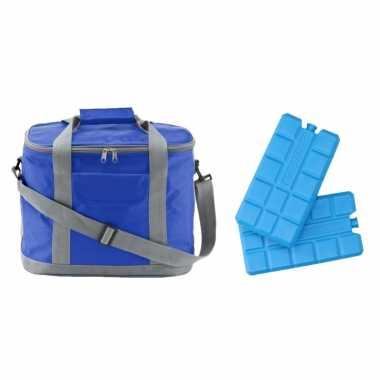 Koeltas van 25 x 20 x 35 cm blauw/grijs met 6x stuks koelelementen