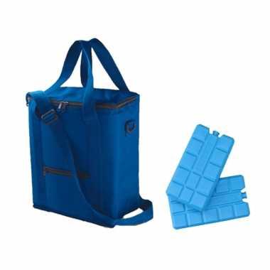 Koeltas van 36 x 30 x 17 cm blauw met 6x stuks koelelementen