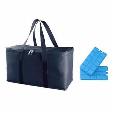 Koeltas van 39 x 22 x 19 cm blauw met 6x stuks koelelementen