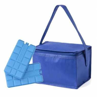Koeltas van polypropyleen 6 blikjes blauw inclusief 2 koelelementen