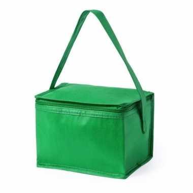 Koeltas van polypropyleen 6 blikjes groen