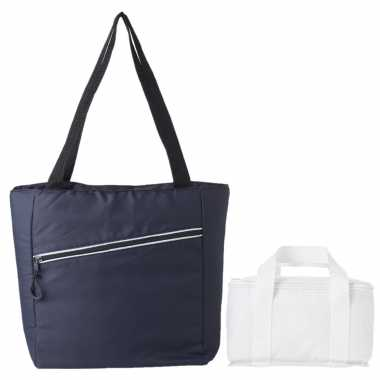 Koeltassen set draagtas/schoudertas blauw/wit 20 en 4 liter