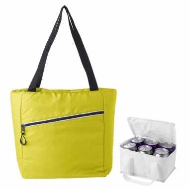 Koeltassen set draagtas/schoudertas geel/wit 20 en 4 liter