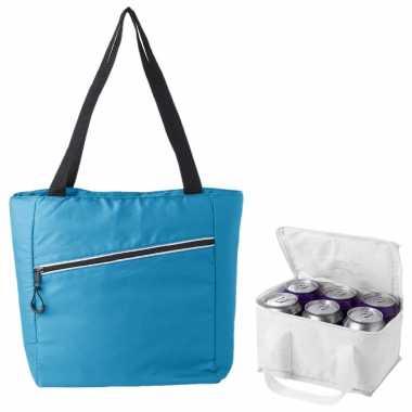 Koeltassen set draagtas/schoudertas lichtblauw/wit 20 en 4 liter