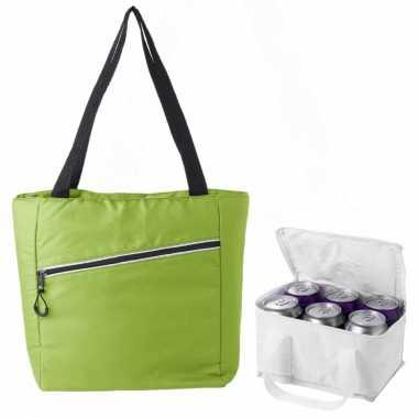 Koeltassen set draagtas/schoudertas lime groen/wit 20 en 4 liter
