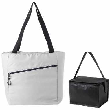 Koeltassen set draagtas/schoudertas wit/zwart 20 en 4 liter