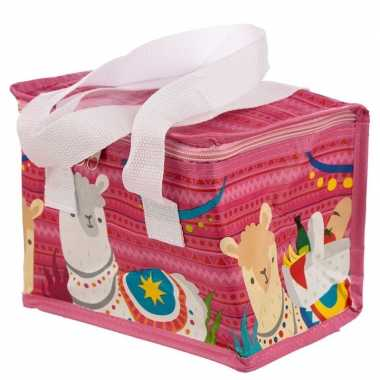 Lama/alpaca print roze koeltassen 4 liter