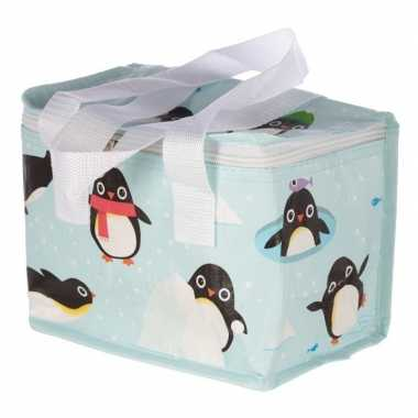 Pinguin print blauw blikjeskoeler koeltassen voor sixpack/6 blikken