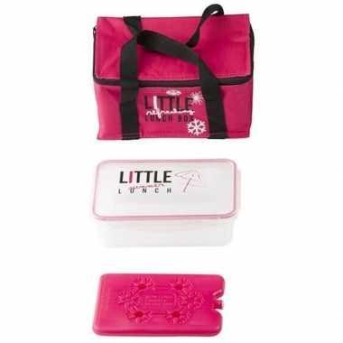 Roze klein koeltasje met lunch box en koelelement