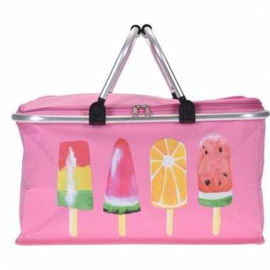 Roze koeltassen met ijsjes 48cm