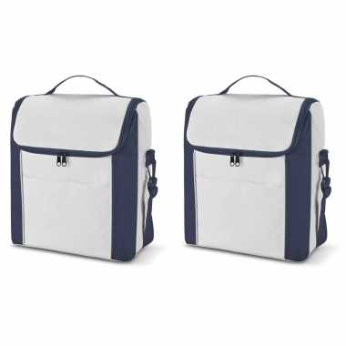 Set van 2x koeltassen blauw/wit met voorvak en schouderriem 12 liter 34 cm