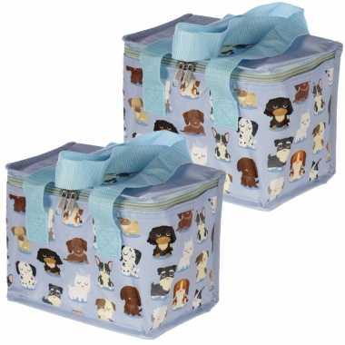 Set van 2x stuks kleine koeltassen voor lunch blauw met honden print 16 x 21 x 14 cm 4,7 liter