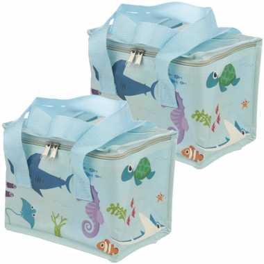 Set van 2x stuks kleine koeltassen voor lunch blauw met zeedieren print 16 x 21 x 14 cm 4,7 liter