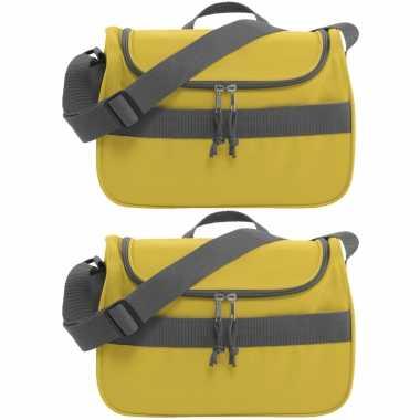Set van 2x stuks kleine koeltassen voor lunch geel 30 x 15 x 22 cm 10 liter