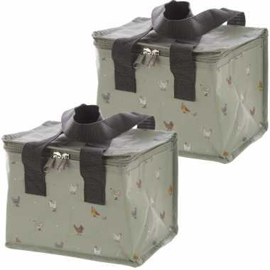 Set van 2x stuks kleine koeltassen voor lunch grijs met kippen print 16 x 21 x 14 cm 4,7 liter
