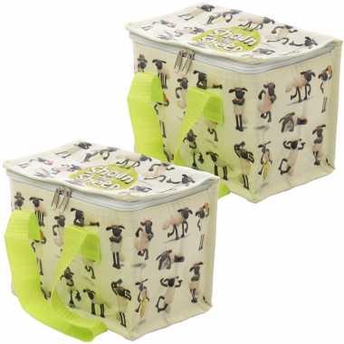 Set van 2x stuks kleine koeltassen voor lunch met shaun het schaap print 16 x 21 x 14 cm 4,7 liter