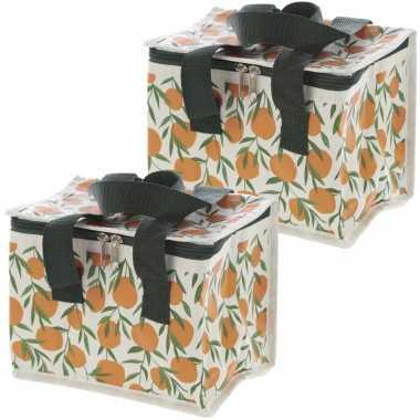 Set van 2x stuks kleine koeltassen voor lunch met sinasappels print 16 x 21 x 14 cm 4,7 liter