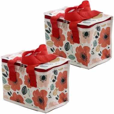 Set van 2x stuks kleine koeltassen voor lunch rood/wit met klaprozen print 16 x 21 x 14 cm 4,7 liter