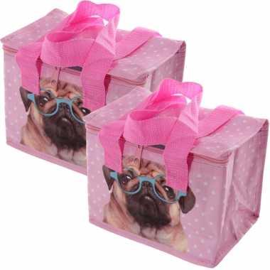 Set van 2x stuks kleine koeltassen voor lunch roze met mopshond print 16 x 21 x 14 cm 4,7 liter