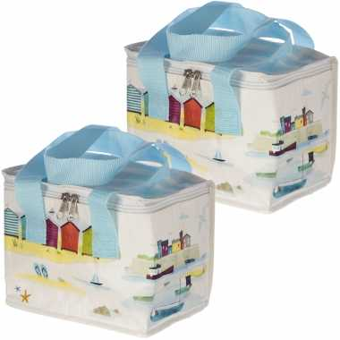 Set van 2x stuks kleine koeltassen voor lunch wit met haven en strand print 16 x 21 x 14 cm 4,7 l