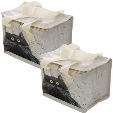 Set van 2x stuks kleine koeltassen voor lunch wit met kim haskins katten print 16 x 21 x 14 cm 4,7 l