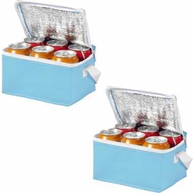 Set van 2x stuks mini koeltassen lichtblauw/wit 20 cm voor 6/sixpack blikjes 3,5 liter