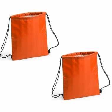 Set van 2x stuks oranje koeltas rugzak 27 x 33 cm