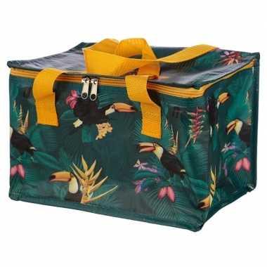 Toekan/tropische print groen koeltassen 12 liter