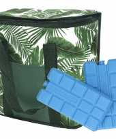 Bladeren print groen koeltassen 20 liter incl 2 koelelementen