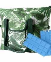 Bladeren print groen koeltassen 40 liter incl 2 koelelementen