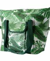 Bladeren print groen koeltassen 40 liter