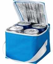 Blauwe blikjeskoeler koeltassen voor 4 blikken