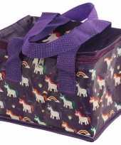 Eenhoorn unicorn print paars blikjeskoeler koeltassen voor sixpack 6 blikken