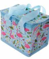 Flamingo print blauw blikjeskoeler koeltassen voor sixpack 6 blikken