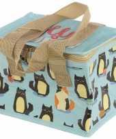 Kat poes print blauw blikjeskoeler koeltassen voor sixpack 6 blikken