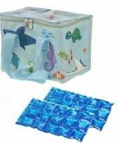Kleine koeltas voor lunch zeedieren print met 2 stuks flexibele koelelementen