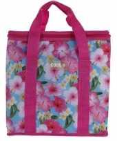 Koeltas bloemenprint roze 24 liter