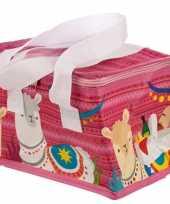 Lama alpaca print roze koeltassen 4 liter