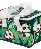 Panda print groen koeltassen 4 liter