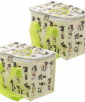 Set van 2x stuks kleine koeltassen voor lunch met shaun het schaap print 16 x 21 x 14 cm 4 7 liter