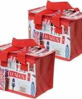 Set van 2x stuks kleine koeltassen voor lunch rood met londense iconen print 16 x 21 x 14 cm 4 7 l